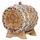 Бочка кавказский дуб на подставке с краном в оплетке