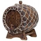 Бочка кавказский дуб на подставке с краном в оплетке Состаренная